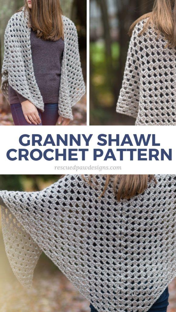 Free Crochet Granny Triangle Shawl Pattern #shawlcrochetpattern
