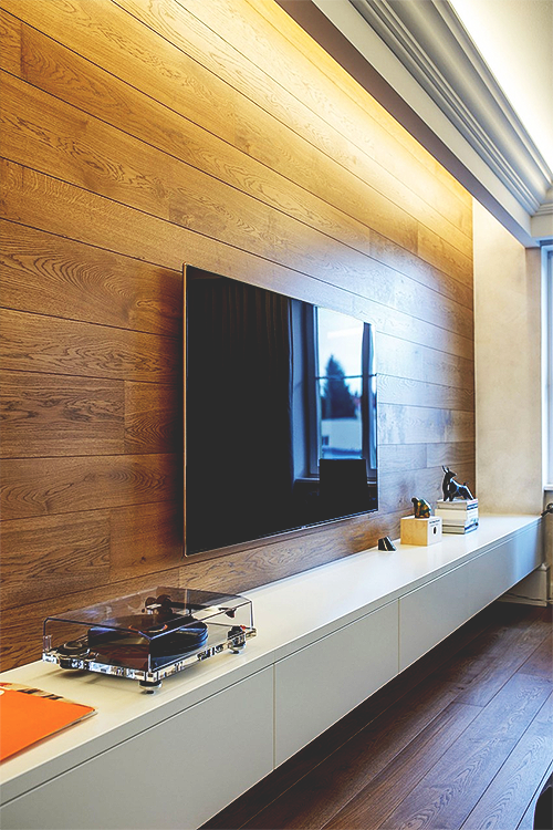 Home Tv Room Design Ideas: TV Wall With Recessed Lighting.
