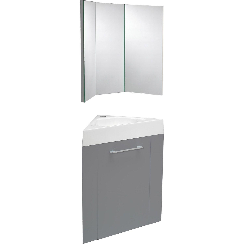 Ensemble Salle De Bain Cdiscount ~ meuble lave mains d angle avec miroir sensea remix gris galet n 3