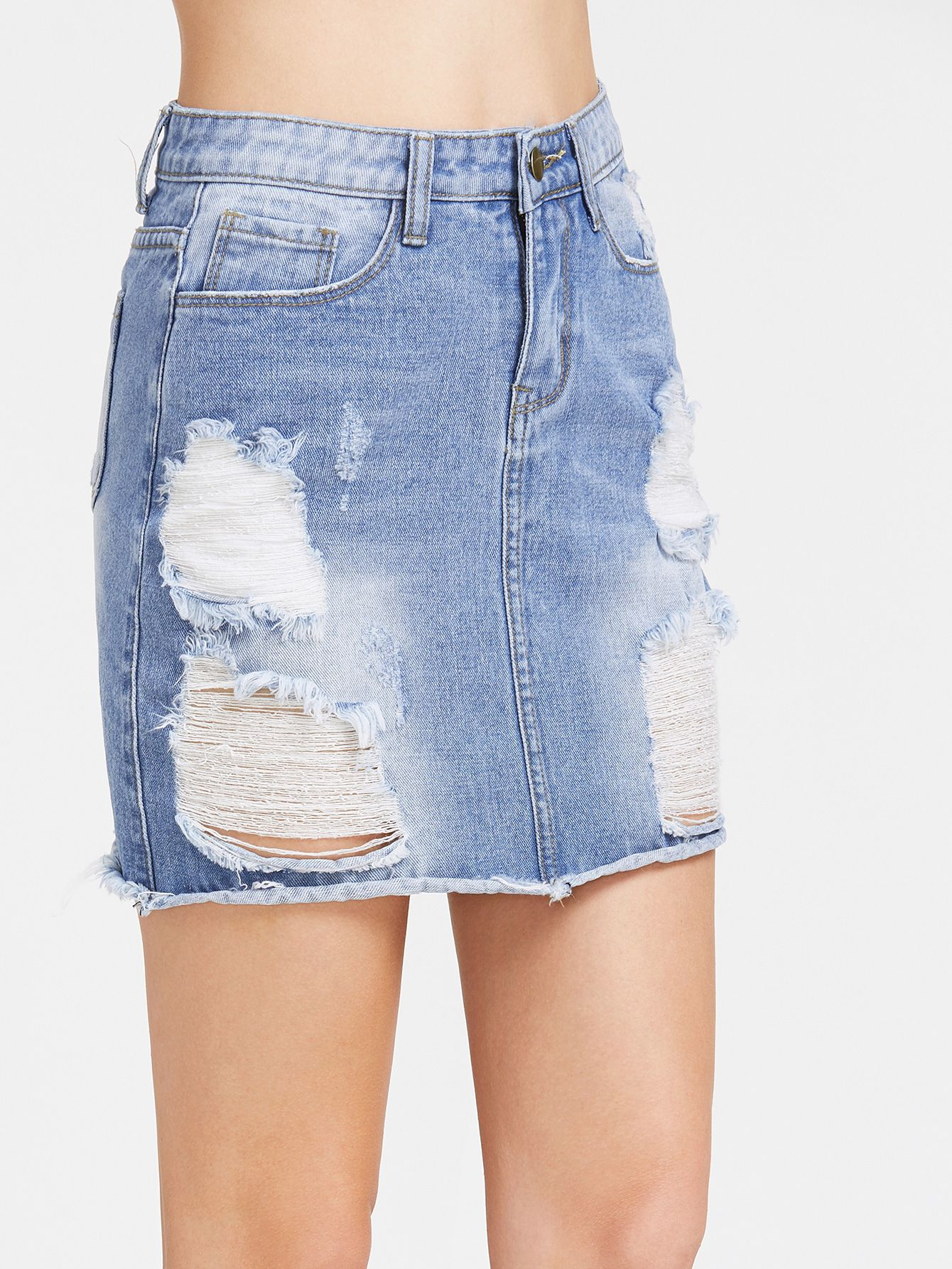 1484bbe0c7 Shop Bleach Wash Distressed Denim Skirt online. SheIn offers Bleach Wash  Distressed Denim Skirt & more to fit your fashionable needs.
