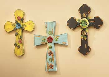 wall of decorative crosses