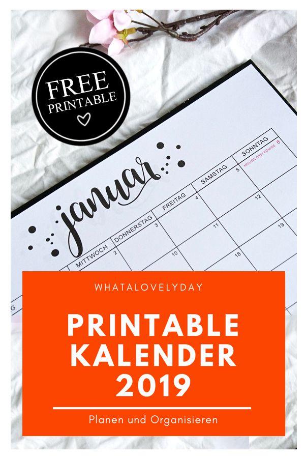 monatskalender 2019 freebie zum ausdrucken kalender. Black Bedroom Furniture Sets. Home Design Ideas