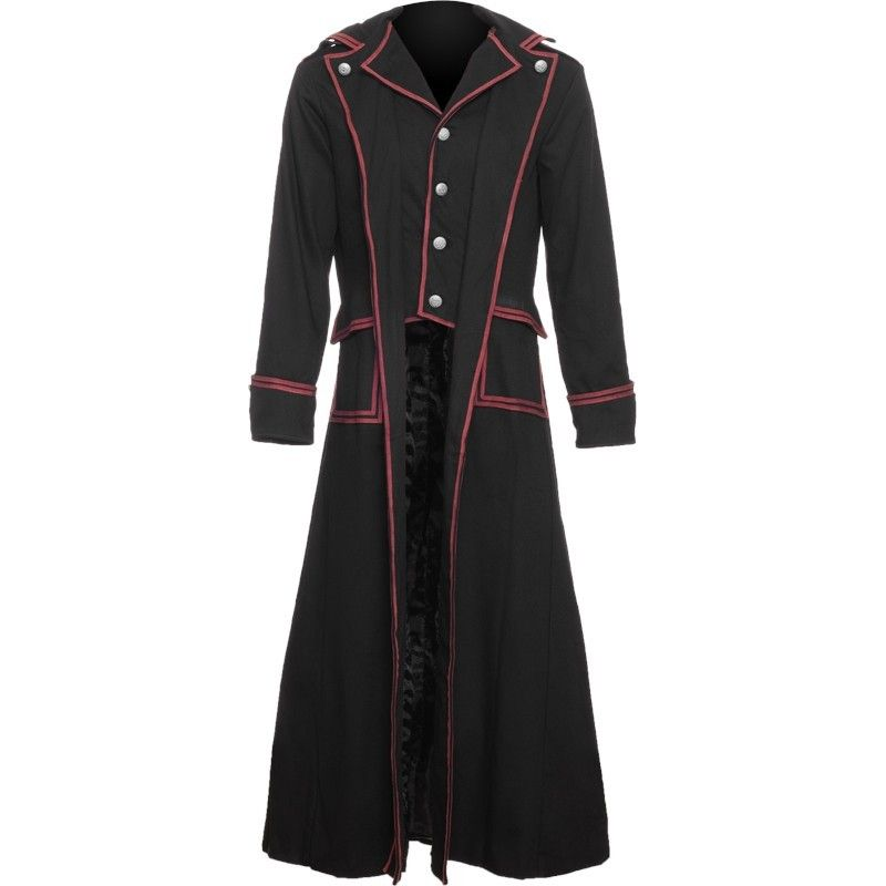 Gothic men&39s coat black with red lining by Raven SDL | Gothic
