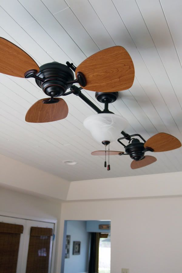 nice ceiling fan, installing wooden ceiling. twin breezeallen+
