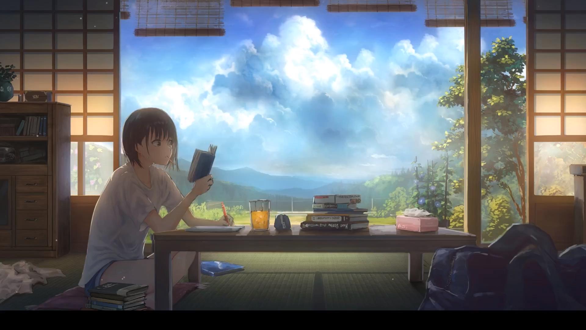 Video Homework Girl Anime Wallpaper Pemandangan Anime Pemandangan Gambar Bergerak