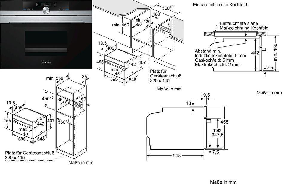 Einbaudampfgarer  Einbaudampfgarer SIEMENS CD634GBS1, Edelstahl | Backofen-Set ...