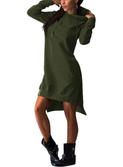 6f47da5795b Women's Fashion Solid Long Sleeve High Low Hoodie   Want!   Hooded ...