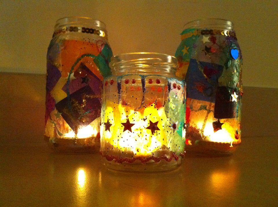 Jam Jar Tea Lights Jam Jar Crafts Childrens Christmas Crafts Christmas Lanterns Diy