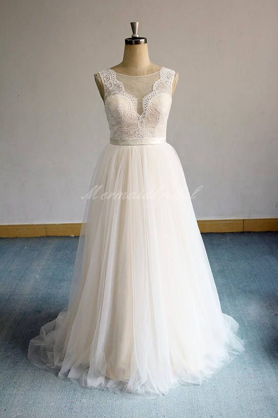 2f470a138f91 Flowy Open back Scallop Deep V Neckline Tulle Lace Wedding Dress with Light Champagne  Lining