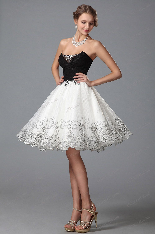 Stylish black white party dress cocktail dress! #edressit ...