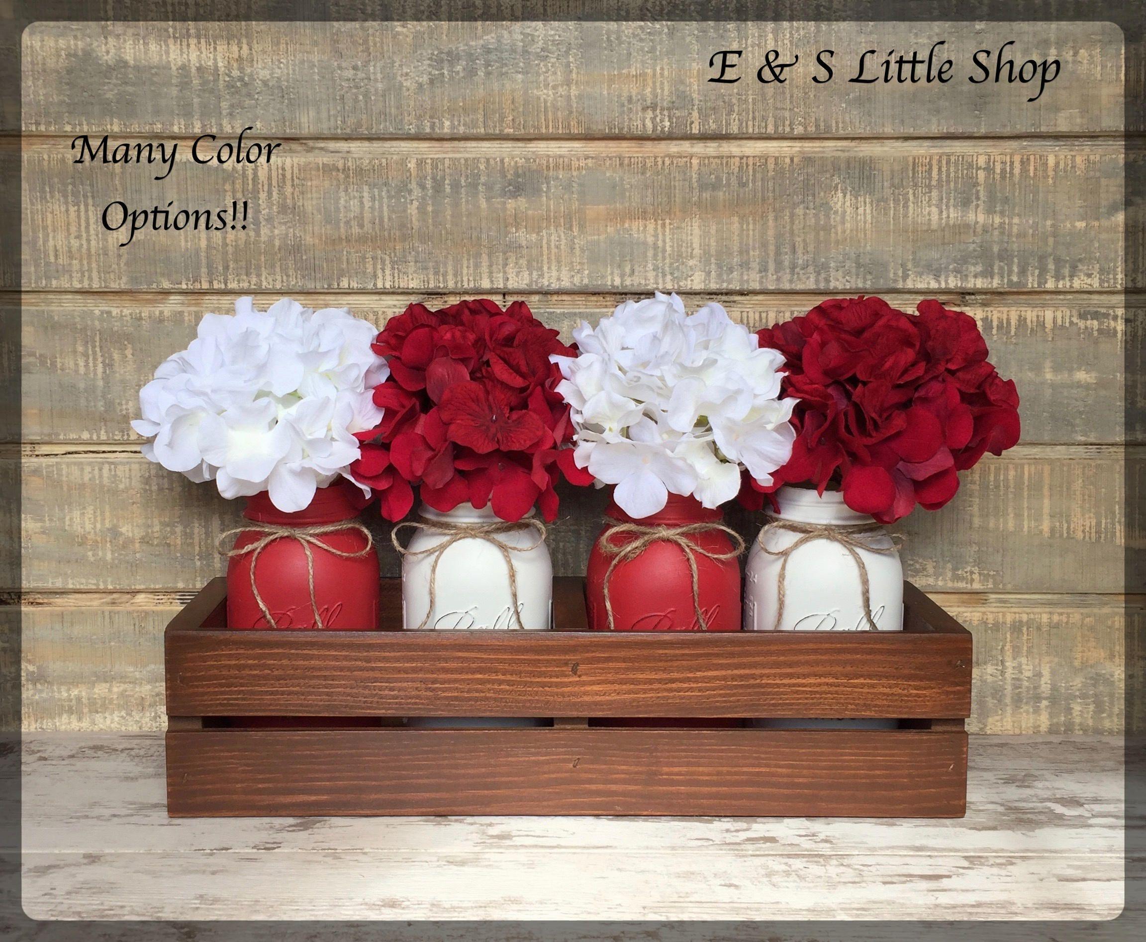 Valentine Mason Jar centerpiece Valentines Day Decor Rustic Décor