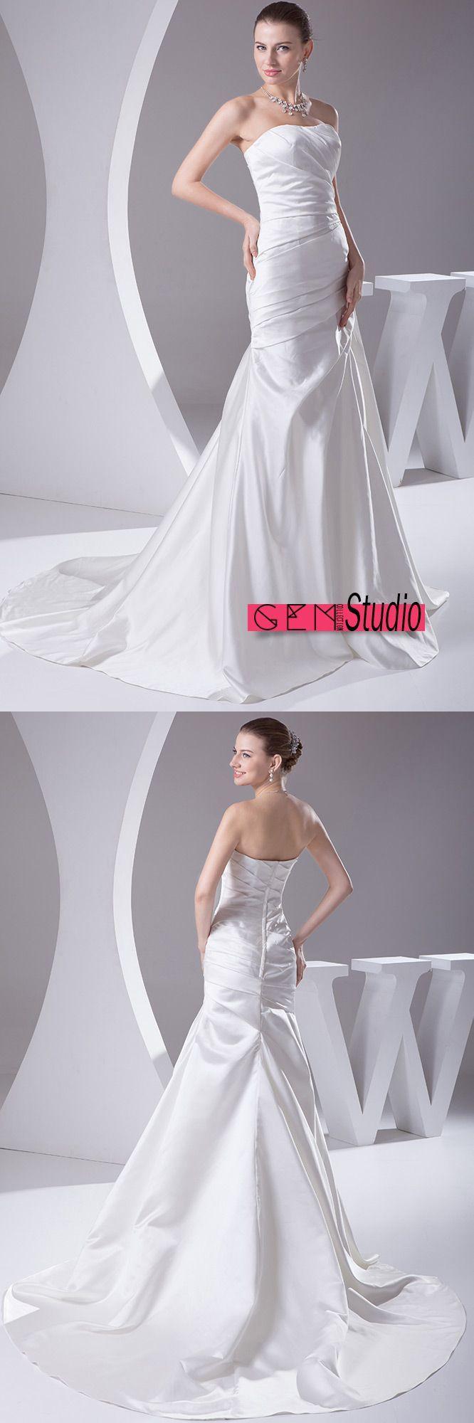 Sheath strapless court train satin wedding dress op