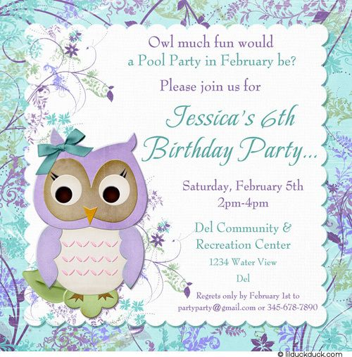 Sweet owl birthday invitation little girls photo party colors blue purple flower owl birthday invitation filmwisefo