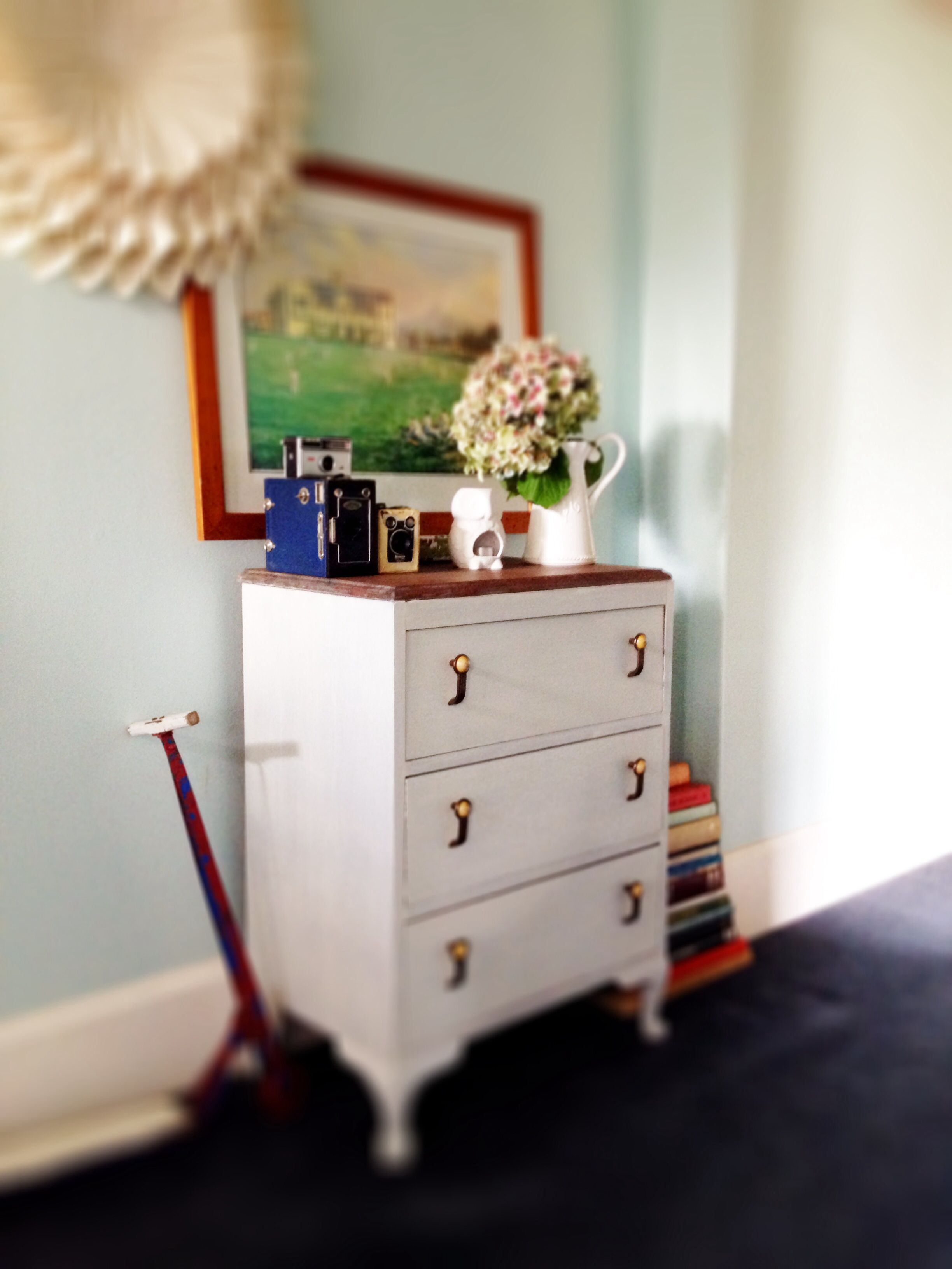 Gorgeous Q Anne style Art Deco set of drawers done up in Milk Paint