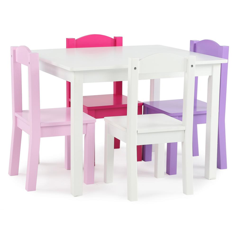 Tot Tutors Friends 5 Piece White Pink Purple Kids Table And Chair