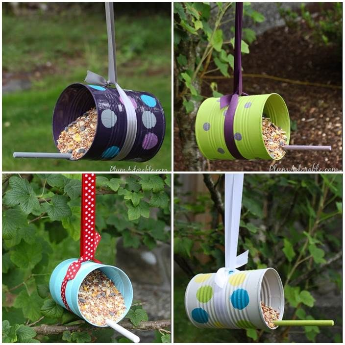 Diy bird feeders from tin cans craft ideas pinterest - Pajareras de jardin ...