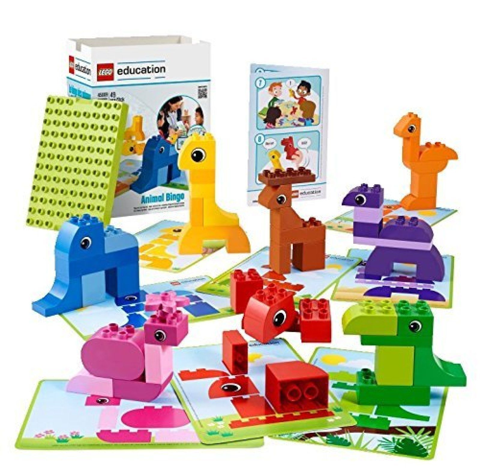Animal Bingo Game For Shape And Color Recognition By Lego