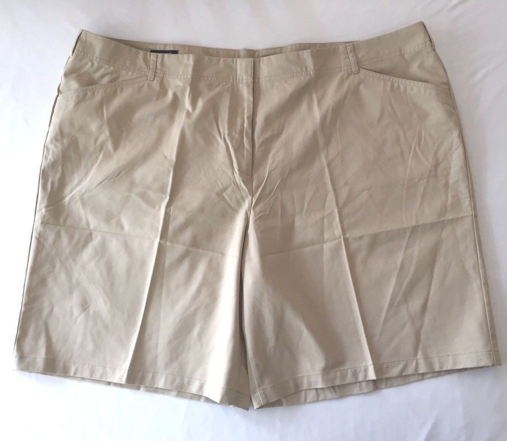 3a3ab8a308f 30W Lands End Beige Tan Chino Shorts Plus Size Womens J9045D New w o Tags   LandsEnd  Chino  Summer