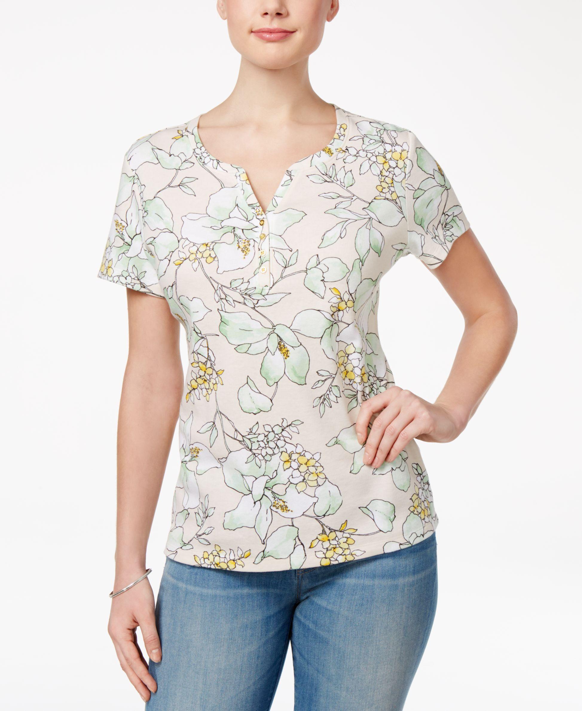 cbc16db1 Printed Henley T-Shirt, Created for Macy's | Karen scott, Henleys ...