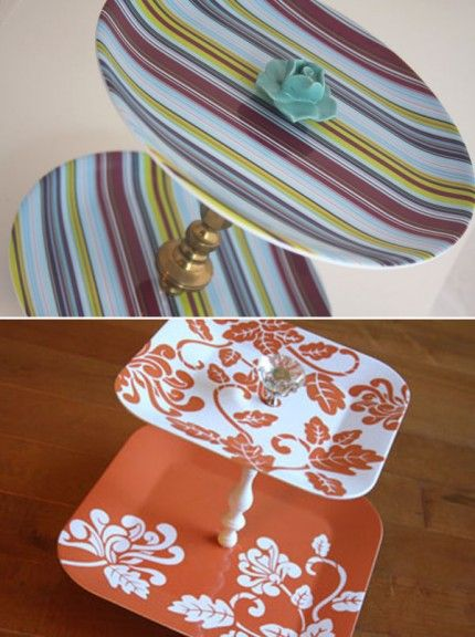 Cake stand from placemats wooden dowel, scrapbook paper, beads, liquid gloss?