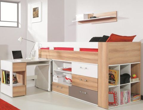 lit mi haut avec bureau et commode puzzle lit sur lev enfant pas cher d co chambre enfant. Black Bedroom Furniture Sets. Home Design Ideas