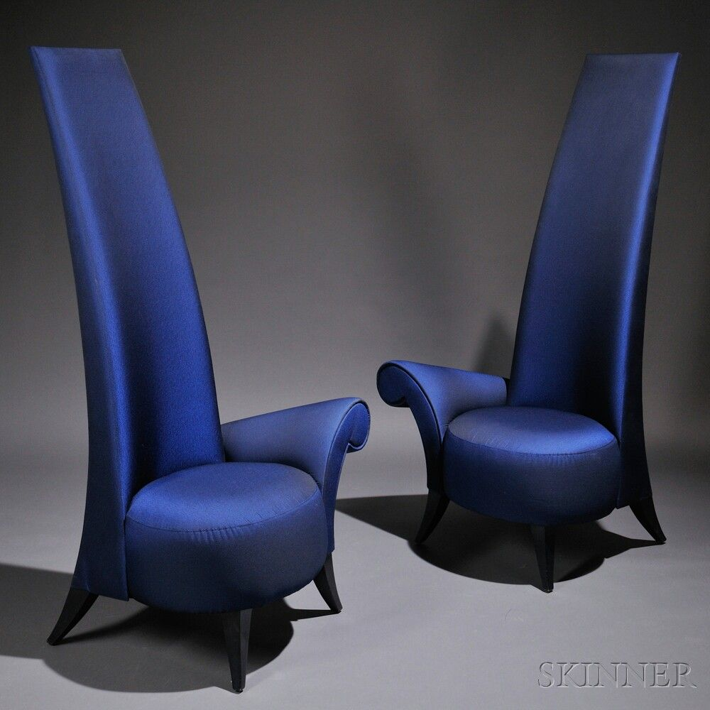 Two Contemporary La Diva High Back Lounge Chairs Designed By Jaime Bouzaglo Manufact Modern Lounge Chair Design Contemporary Chairs Elegant Living Room Design