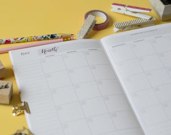 Pocket calendar, pocket monthly calendar, pocket sized planner, mini