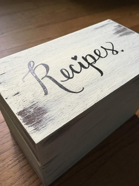 Rustic Recipe Box Large Box With Dividers Distressed Handpainted