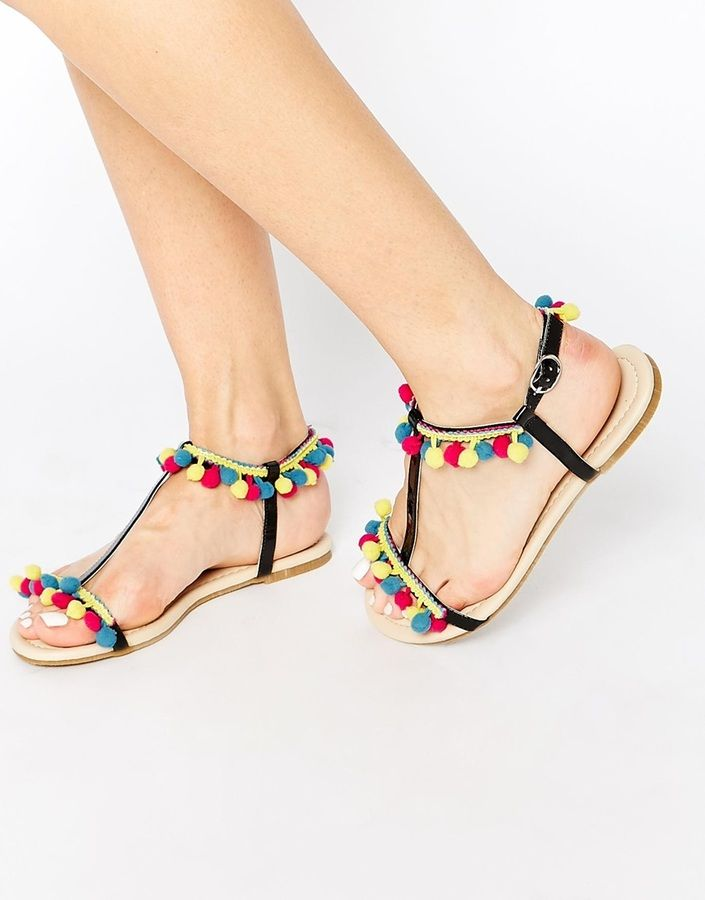 ASOS COLLECTION ASOS FACTORY Pom Pom Flat Sandals   What I Want ... 1b486b678442