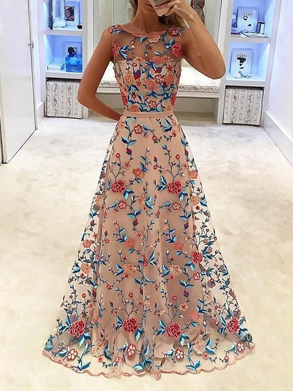 Evening Lace Embroidered Hollow Sleeveless Evening Dresses -   18 dress Maxi floral ideas