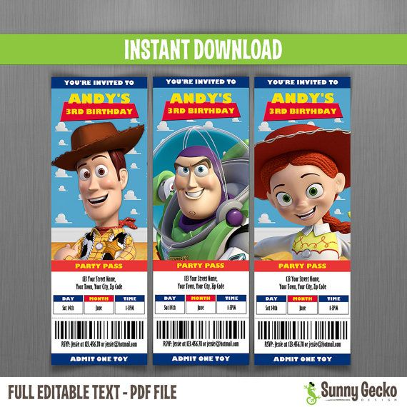 Disney Toy Story Ticket Invitations Instant Download And