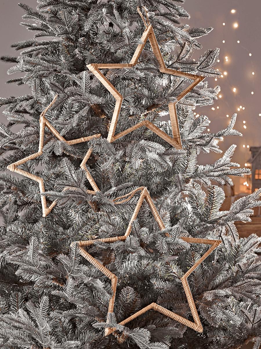 Three Rattan Silhouette Stars Christmas tree decorations