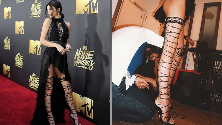 sale retailer d65d5 f8b12 Kendalls Lace-Up Shoes Were Hot AF, but Were They Worth the Trouble   Love  Kendall Jenners MTV Movie Awards lace-up heels
