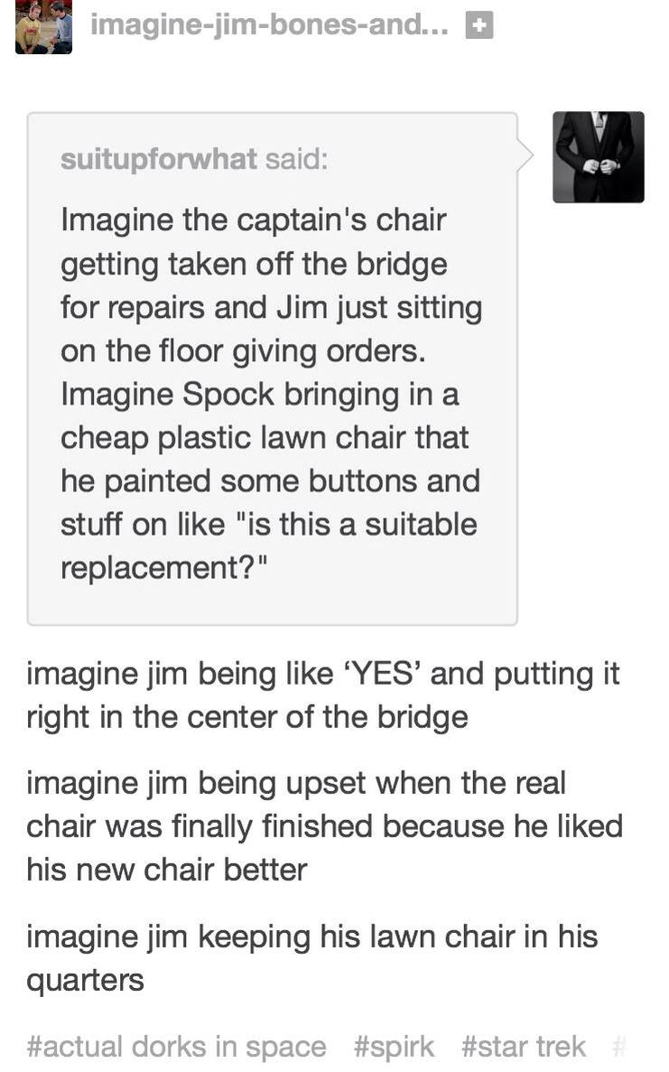 Tbh sounds more like chris and zachary than jim and spock | Star