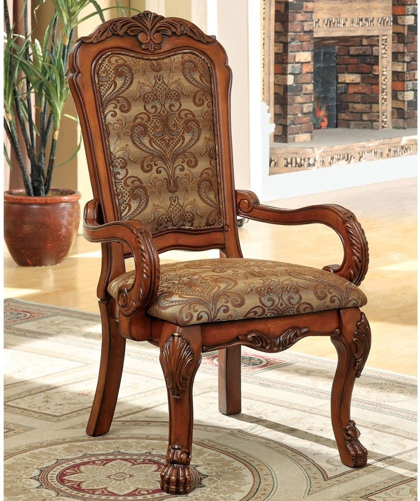 Dining Arm Chairs Traditional Upholstered Antique Oak Wood Seat 2