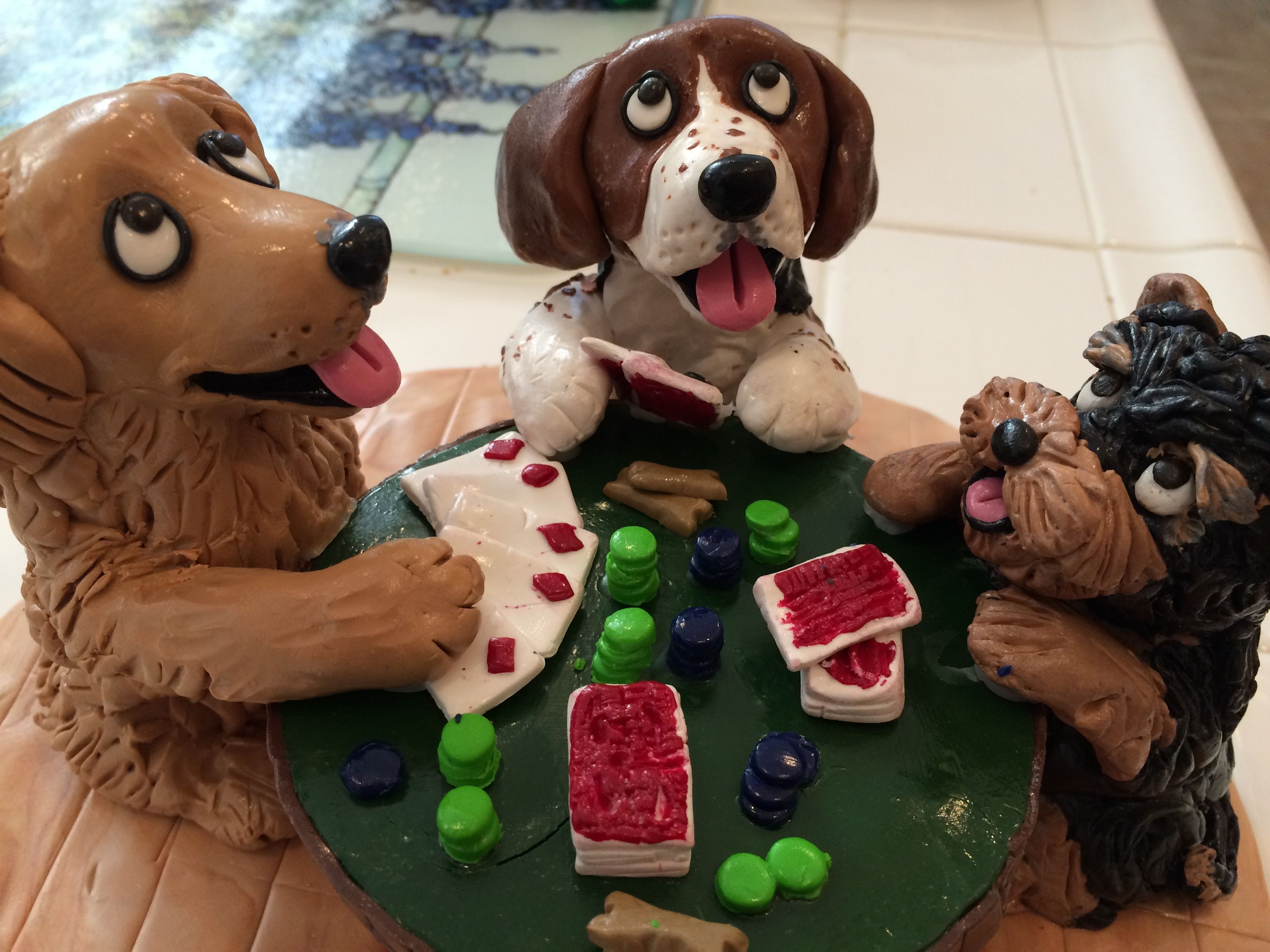 Dogs Playing Poker Special Sculpture To Be Auctioned At The Jennifer Harman Celebrity Poker Tournament 11 13 With Images Dogs Playing Poker Clay Figurine Dog Figurines