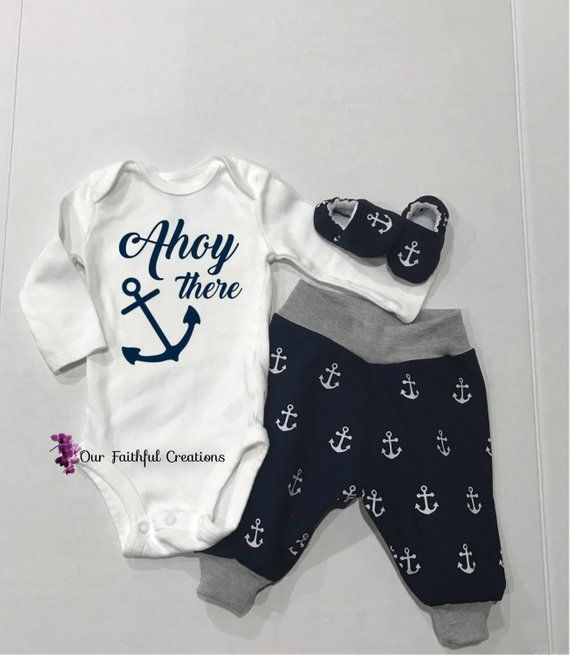 6b61fcbc9 Ahoy There Outfit, Baby Boy Anchor Set, Nautical Onesie, Newborn ...