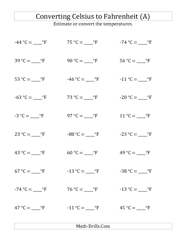 New 2012-12-13! Measurement Worksheet -- Converting Celsius to ...