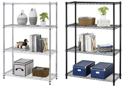 4 Tier Steel Wire Storage Rack / Kitchen Organizer Shelving   Choose Black  Or Chrome