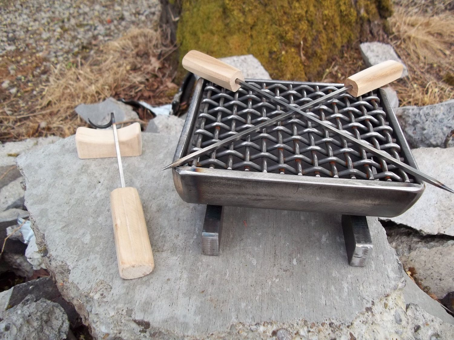 welded metal hibachi grill for two with wood handle skewers meat