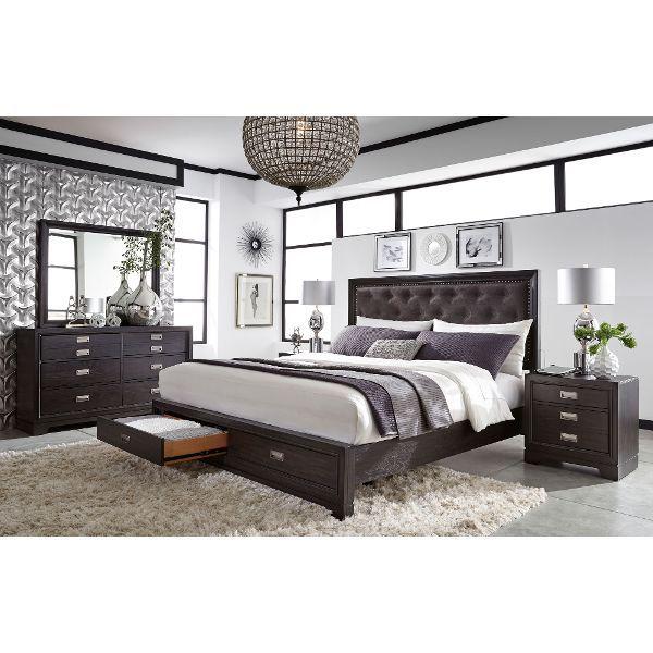 Black Contemporary Bedroom Set Alluring Licorice Black Contemporary 6 Piece King Bedroom Set  Front Design Decoration