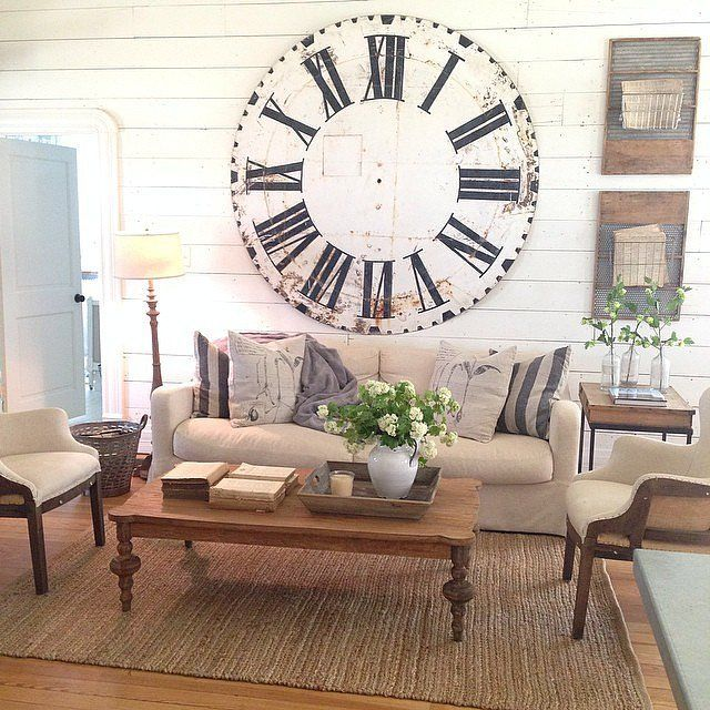 An oversize clock is on your list of decor goals joanna for Upper living room designs