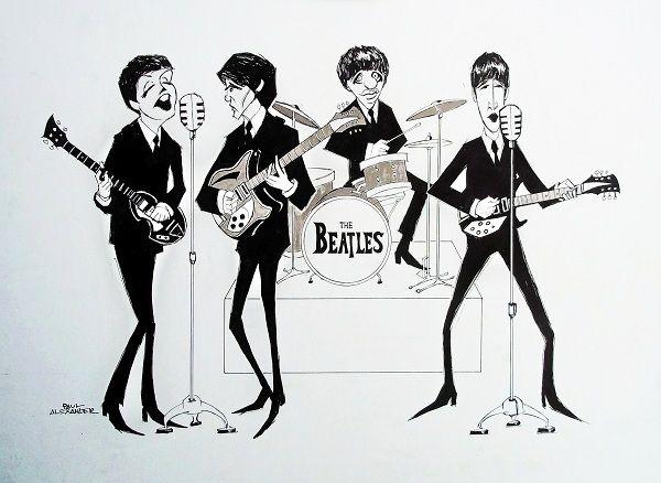 演奏中のビートルズのイラストの壁紙