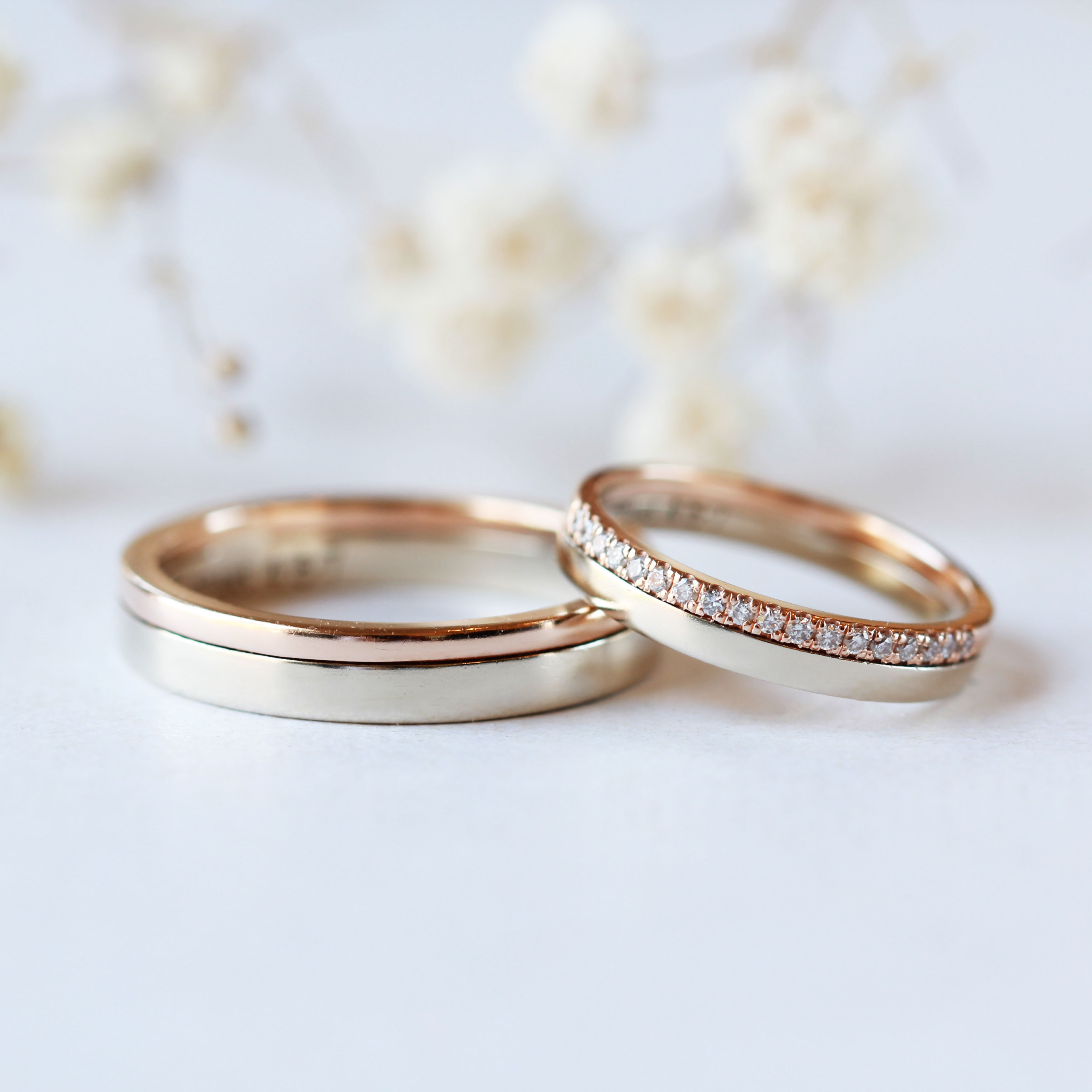 It is just a picture of Two tone Solid Gold Wedding band his and hers engagement Etsy