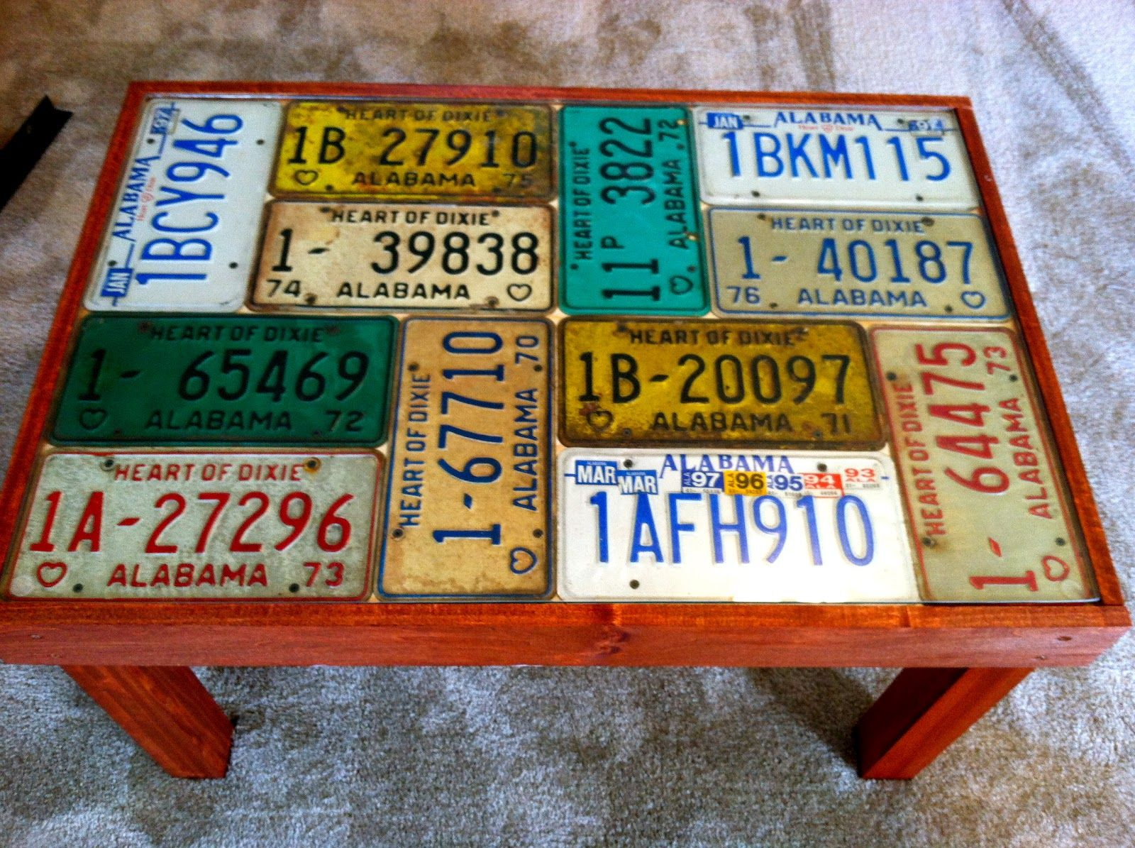 Roy S Coffee Table License Plate Crafts License Plate Decor Old License Plates
