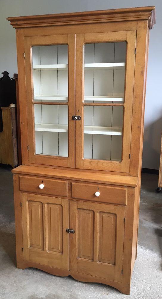 Exquisite Antique American Stepback Cupboard Cabinet 1 Piece Ash  48w39h90h21d15d #RusticPrimitive - Exquisite Antique American Stepback Cupboard Cabinet 1 Piece Ash