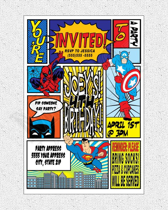 Super Hero Theme Party Pack - Digital File, PRINTABLE, D.I.Y. - by Metro Events/Metro-Designs. $16.98, via Etsy.