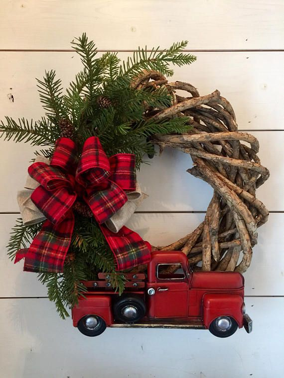 red truck christmas wreath purchase separately or as a set adding the rustic red christmas truck with tree these are super cute displayed together for