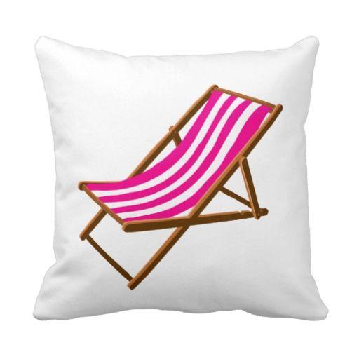 Fuschia Striped Wooden Beach Chair.png Throw Pillow