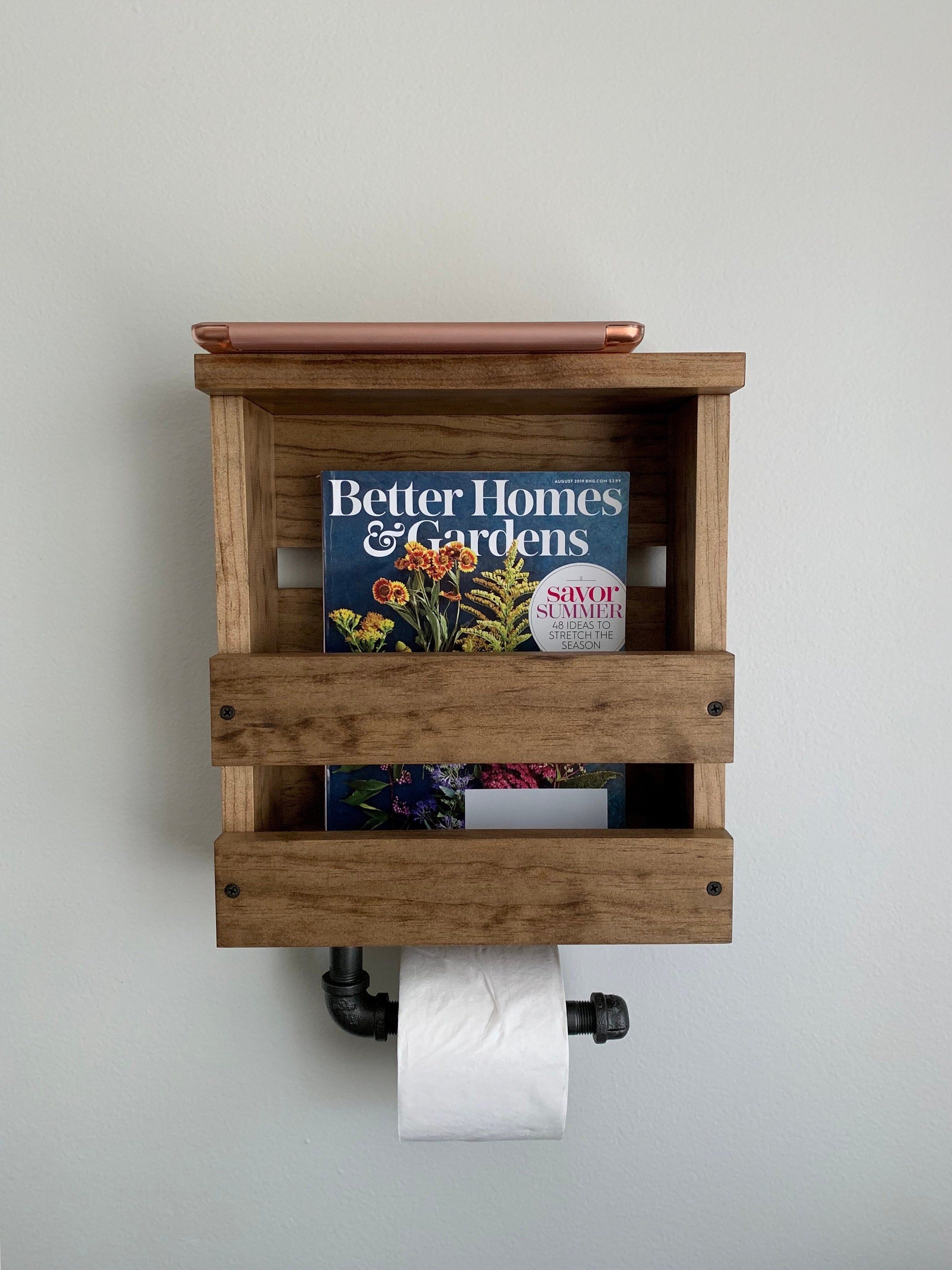 Magazine And Toilet Paper Holder With Shelf Industrial Toilet Etsy Toilet Paper Holder Shelf Rustic Toilet Paper Holders Toilet Paper Holder